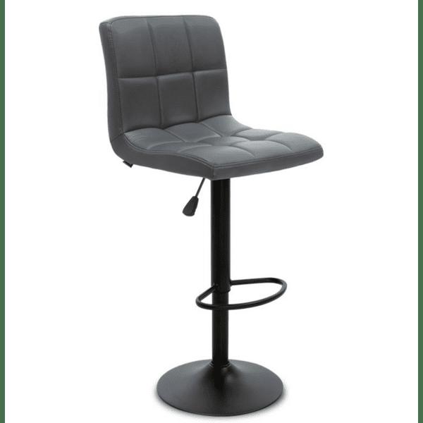 Бар стол Remina метално черен матиран с PU сив цвят