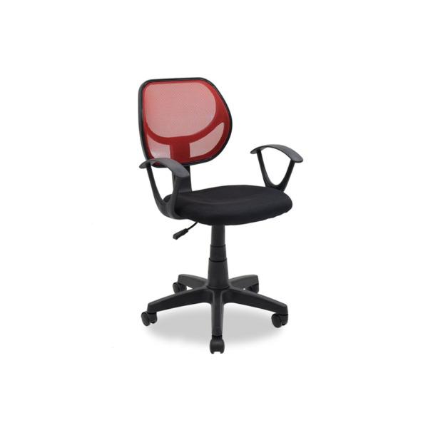 Детски стол Sara  с черно-червена мрежеста материя