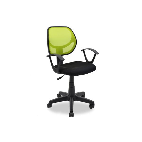 Детски стол Sara с черно-зелена мрежеста материя