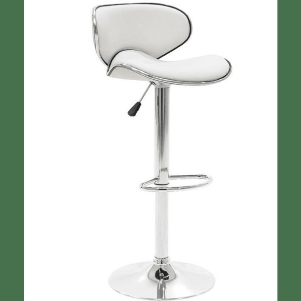 Бар стол Butterfly с хромиран метал  цвят бял