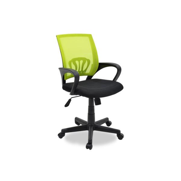 Офис стол Berto с черно-зелена мрежеста материя