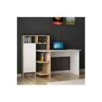 Офис с библиотека Шифер  цвят бял-естествен 120x60x112cm
