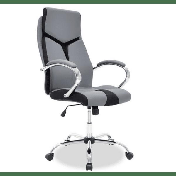 Офис стол SHARK техно-кожа сиво-черен цвят
