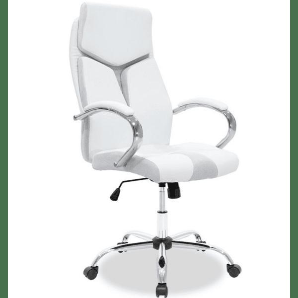 Офис стол SHARK кожа бял-сив цвят