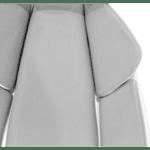 Офис стол MOMENTUM сив плат мрежест гръб Pu бял