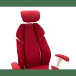 Офис стол MOMENTUM червен плат Мрежест гръб PU бял