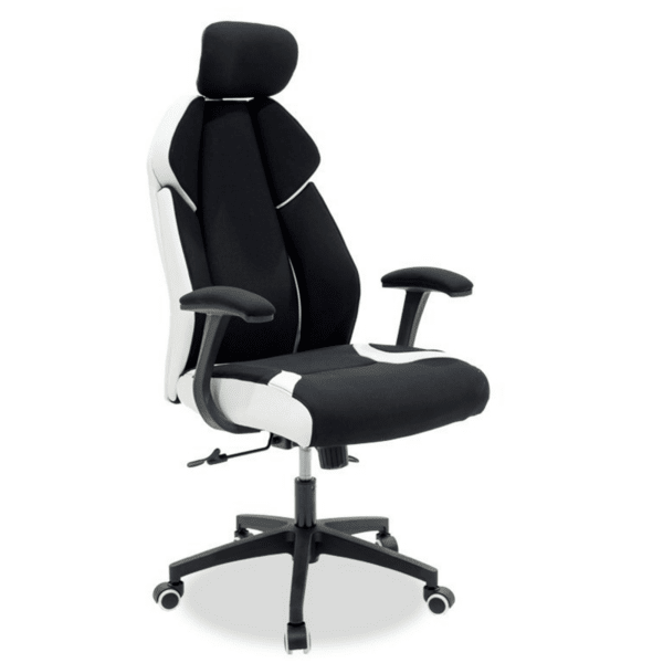 Офис стол MOMENTUM черен плат мрежест гръб pu бял