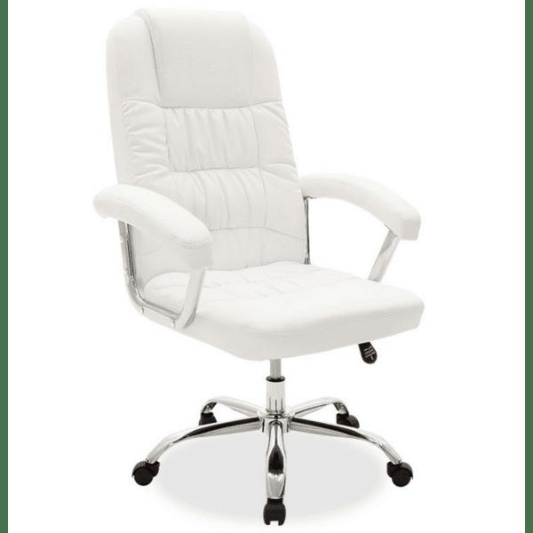 Офис стол Viggo бяла кожа