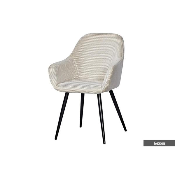 Трапезен стол К-314 велур -бежов/ черни крака