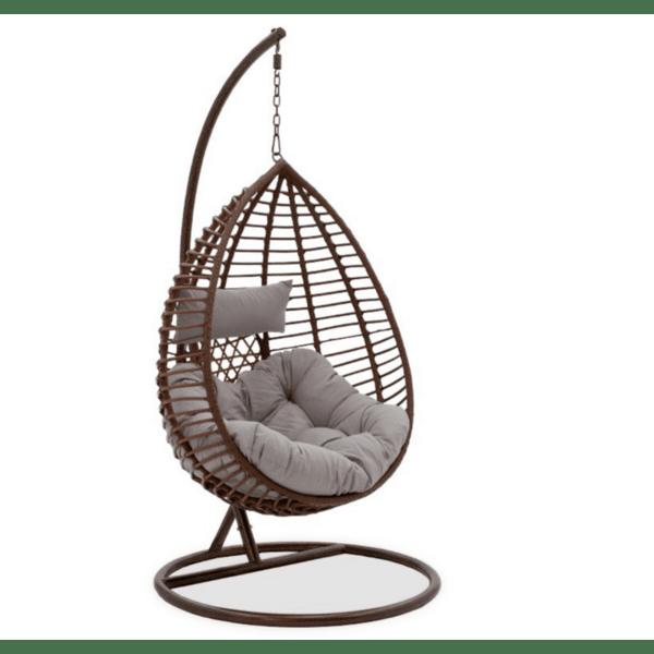 Градинска люлка Kadi кафяв цвят сиви възглавници