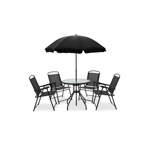 Градински компект с чадър Kamelia 6бр черен