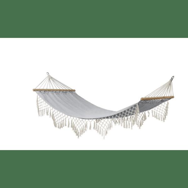 Хамак Fringe  сиво-бял 200х100см