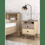 Нощно шкафче Bruno с 2 чекмеджета 39,5x39,5x56,5cm