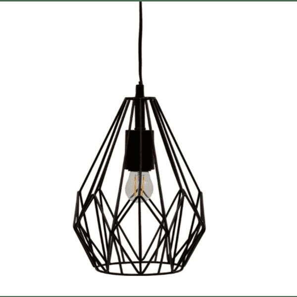 Висяща метална таванна лампа черна Φ23x23см