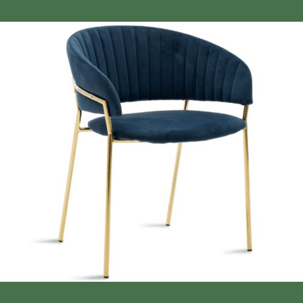 Кресло Maggie метал златист-синьо кадифе