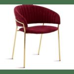 Кресло Maggie метал златист-цвят бордо