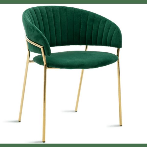 Кресло Maggie метал златист-зелено кадифе