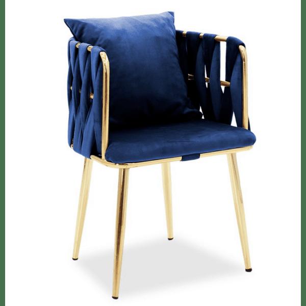 Кресло Ivory синьо кадифе 53x52x77см