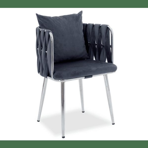 Кресло Ivory сиво кадифе 53x52x77см