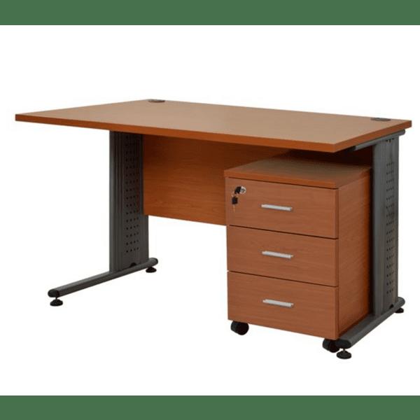 Комплект за офис бюро +шкаф цвят череша- сив