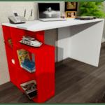 Офис бюро Redi бял-червен цвят
