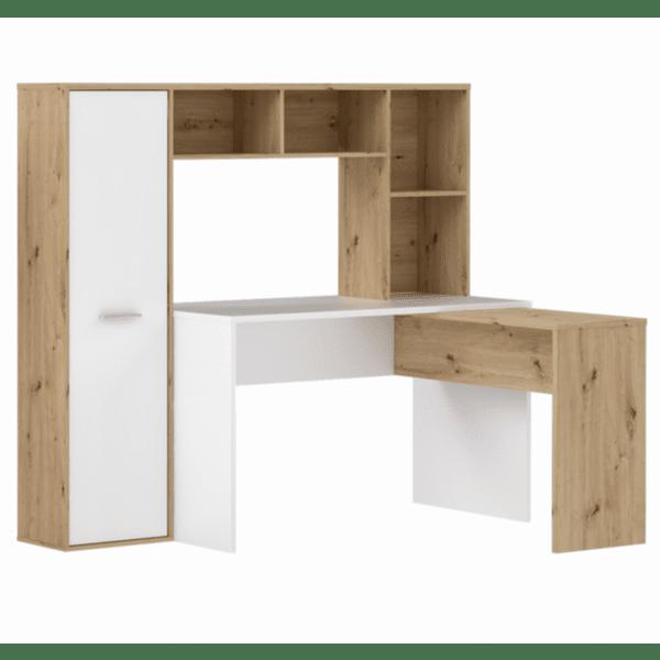 Ъглово бюро +библиотека+шкаф цвят бял-естествен