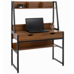 Офис бюро с чекмеджета и библиотека цвят орех-черен