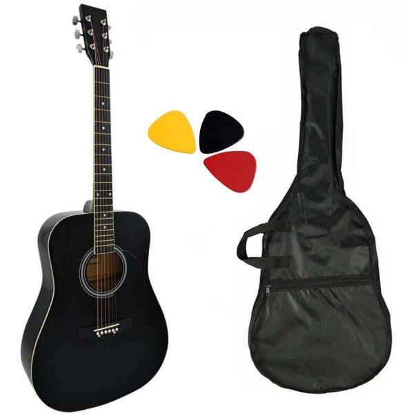 Комплект акустична китара с метални струни Hobax FAG-110 BK с калъф и перца. ПОДАРЪК  онлайн уроци на стойност 100 лв.