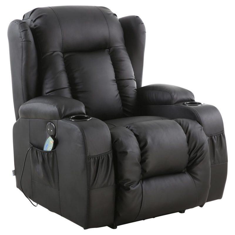 Релакс фотьойл, Реклайнер Hobax-R1 , Масаж с вибрации, Функция за подгряване, Електрически механизъм на разпъване, Еко кожа, Две поставки за чаша, черен цвят