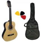 Комплект класическа китара с найлонови струни Hobax FCG-110 N, 4/4 стандартен размер, с калъф и перца. ПОДАРЪК уроци на стойност 100 лв