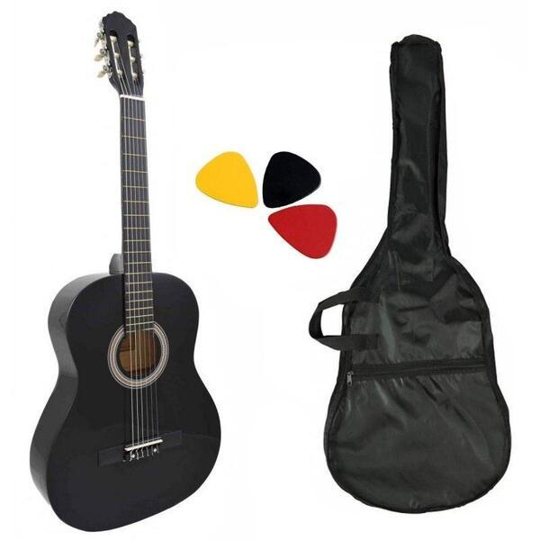 Класическа китара с найлонови струни Hobax FCG-110 BK, 4/4 стандартен размер +2 аксесоара - калъф и перца. ПОДАРЪК онлайн уроци на стойност 100 лв.