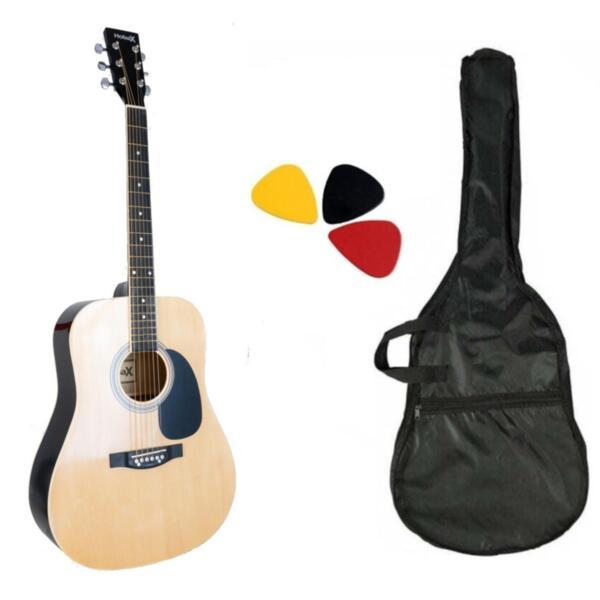 Акустична китара с метални струни Hobax FAG-110 N +2 аксесоара - калъф и перца. ПОДАРЪК  онлайн уроци на стойност 100 лв