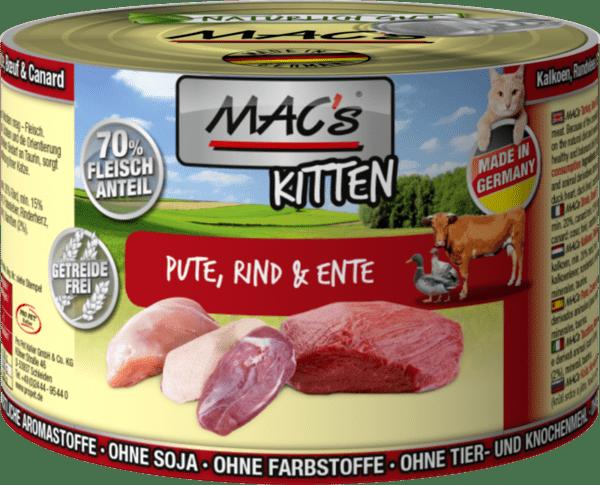 Mac's пуешко, говеждо и патешко - храна за подрастващи котки