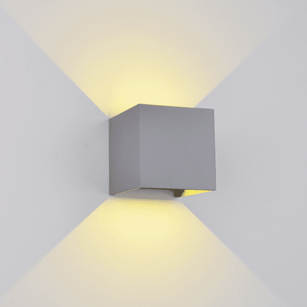 LED АПЛИК 969 КВАДРАТ 2X5W 4000K IP54 СИВ