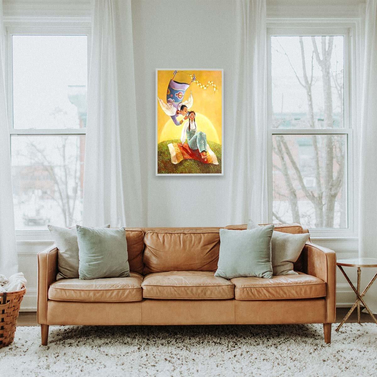 При тясно пространство, изтеглено по вертикал, като колона или ниша е удачно да се сложи вертикално ориентирана картина.