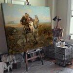 Алфред Ковалски - Кон с шейна на селската улица  №11174-Copy