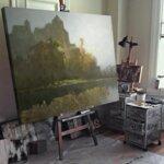 Оскар Мюли - Есенен пейзаж с дърво на слънчева светлина №11221-Copy