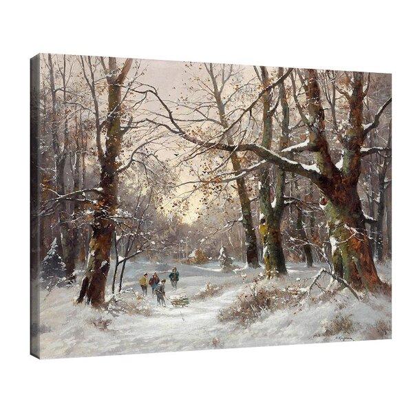 Адолф Кауфман - Дърводелец в снежен горски пейзаж №11242