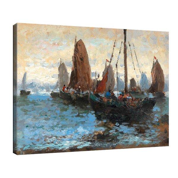 Адолф Кауфман - Морски пейзаж с много ветроходни лодки №11247