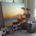 Адолф Кауфман - Морски пейзаж с много ветроходни лодки №11247-Copy