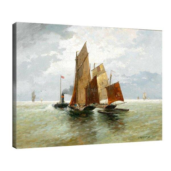 Адолф Кауфман - Парна лодка и риболовни лодки в морето №11250