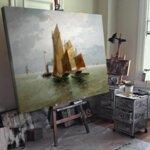 Адолф Кауфман - Мотив в залива Иския край Неапол №11248-Copy