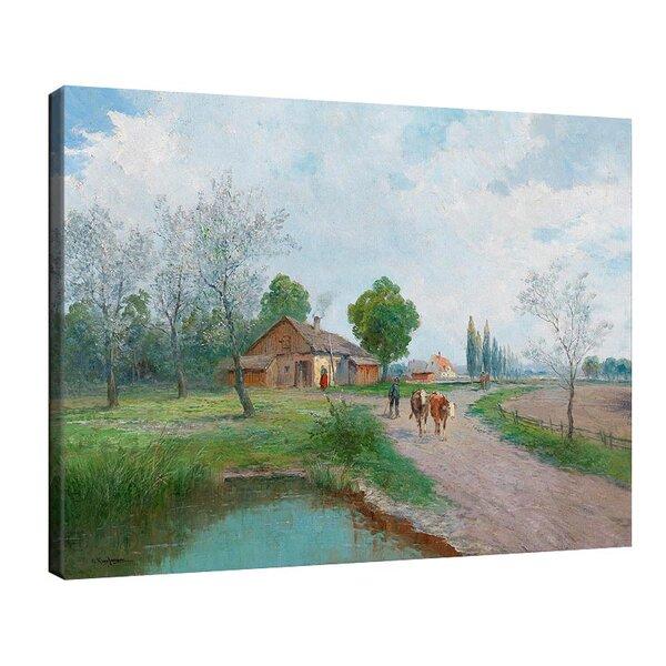 Адолф Кауфман - Пролетен ден в страната, пейзаж със селска къща край езерото, образно декориран №11255
