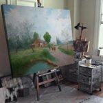 Адолф Кауфман - Пролетен ден в страната, пейзаж със селска къща край езерото, образно декориран №11254-Copy