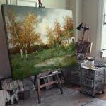 Адолф Кауфман - Пролетен ден в страната, пейзаж със селска къща край езерото, образно декориран №11255-Copy