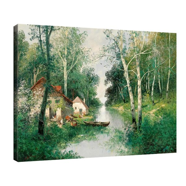 Адолф Кауфман - Речен пейзаж през пролетта №11257