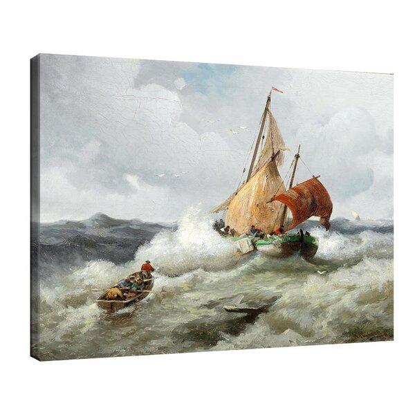 Адолф Кауфман - Риболовна лодка в сурово море №11260