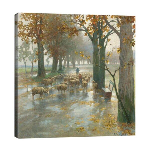 Адолф Кауфман - Стадо овце с овчарка  №11274