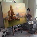 Карл Кауфман - Венецианска сцена, подписана с псевдонима Х. Карние №11276-Copy