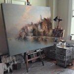 Карл Кауфман - Пейзаж на фиорда в отвъдното, подписан с псевдонима J. Holmstedt №11302-Copy
